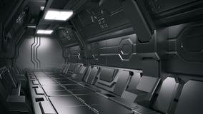 Illustration 3d intérieure de couloir de station spatiale de la science fiction illustration stock