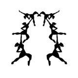 Illustration d'isolement de silhouettes de filles de danse Photo stock