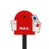 Illustration d'isolement par conception plate de lettre de boîte aux lettres Image libre de droits