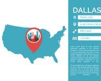 Illustration d'isolement par vecteur infographic de carte de Dallas illustration stock