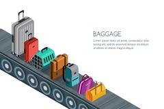 Illustration 3d isométrique d'isolement de bande de conveyeur avec le bagage, valises, sacs Concept pour les bagages vérifiés illustration libre de droits