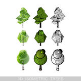 Illustration of 3D isometric low-poly trees Royalty Free Stock Photography