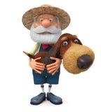 illustration 3D l'agriculteur avec un chien et un râteau illustration de vecteur