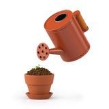 illustration 3D La fleur dans un pot arrose Images libres de droits