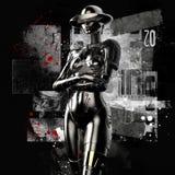 illustration 3D Le cyborg élégant la femme sur un fond grunge Photographie stock