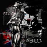 illustration 3D Le cyborg élégant la femme sur un fond grunge Photo stock