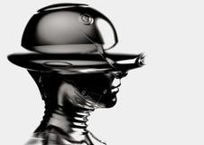 illustration 3D Le cyborg chromeplated élégant la femme Image stock