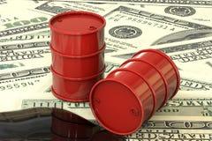illustration 3d : Les barils de pétrole rouges se trouvent sur le fond de l'argent du dollar Affaires de pétrole, or noir, produc Photographie stock libre de droits