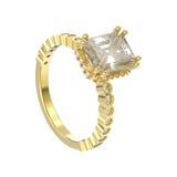 Illustration 3D lokalisierte dekorativen Ring der gelbes Golddiamanten Lizenzfreie Stockfotografie