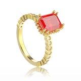 Illustration 3D lokalisierte dekorativen Ring der gelbes Golddiamanten Lizenzfreies Stockfoto