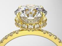 Illustration 3D lokalisierte makro Ring des Zooms gelbes Goldmit diamon Lizenzfreies Stockbild