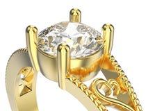 Illustration 3D lokalisierte makro Ring des Zooms gelbes Goldmit diamon Stockbilder