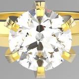 Illustration 3D lokalisierte makro Ring des Zooms gelbes Goldmit diamon Stockfotos