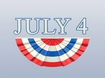Illustration 3D lokalisierte Text 4 vier Juli mit weißem Florida des blauen Rotes Stockbilder