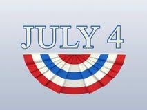 Illustration 3D lokalisierte Text 4 vier Juli mit weißem Florida des blauen Rotes Lizenzfreie Stockbilder
