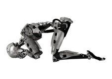 Illustration 3D männlicher Cyborg auf Weiß Lizenzfreies Stockfoto