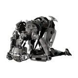 Illustration 3D männlicher Cyborg auf Weiß Lizenzfreie Stockfotografie