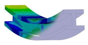 illustration 3D Mélange de vue isométrique d'un complot d'effort de Von Mises et de modèle de DAO de je rayonne en le ployage