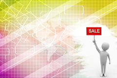 Illustration of 3d man  holding sale sign Illustration Royalty Free Stock Photos