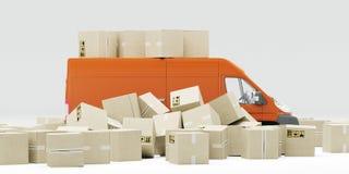 illustration 3D Manipulation et livraison inexactes de paquet Tas des boîtes et du fourgon rouge Fond blanc illustration stock