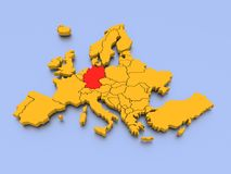 A 3D rendered map of Europe. Illustration of a 3D map of Europe in yellow (green shade) emphasizing  the coasts and borders with Germany shown in red, blue Stock Images
