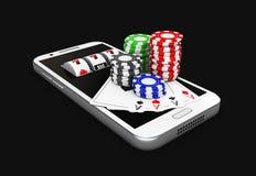 illustration 3d, mobiltelefon och chiper, online-kasinobegrepp Isolerad svart Arkivbilder