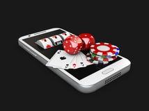 illustration 3d, mobiltelefon och enarmad bandit med lekkortet, tärning och chiper, online-kasinobegrepp Isolerad svart Fotografering för Bildbyråer
