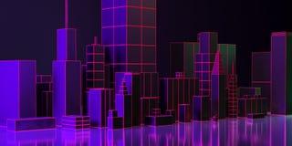 illustration 3d Nattstadsorientering med neonglöd och livliga färger royaltyfri illustrationer
