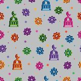 3d neon Ramadan Kareem colorful select seamless pattern. This illustration is 3d neon Ramadan Kareem element with colorful in grey color background seamless stock illustration