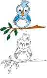 Illustration d'oiseau bleu Photos libres de droits