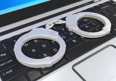 Illustration d'ordinateur portable et de crime de Cyber de menottes Photographie stock libre de droits