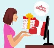 illustration 3d på vit bakgrund Den härliga kvinnan väljer upp en gåva av Santa Claus händer från datorbildskärm Fotografering för Bildbyråer