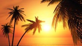 Illustration 3D Palmtree-Sonnenuntergang 2 Stockfotografie