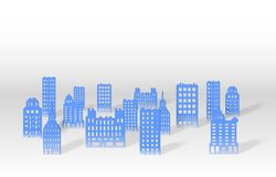 Illustration of a 3D paper city skyline. Vector stock illustration