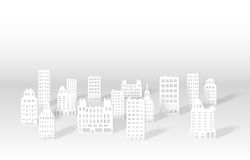 Illustration of a 3D paper city skyline. Vector Stock Photos