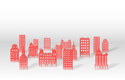 Illustration of a 3D paper city skyline. Vector vector illustration