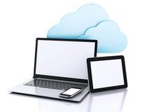 illustration 3D PC, comprimé et smartphone d'ordinateur portable Computi de nuage Photo libre de droits