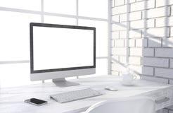 Illustration 3D PC-Schirm auf Tabelle im Büro Stockbilder