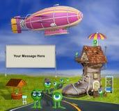 illustration 3D pour ADD votre MESSAGE à la scène humoristique Photos libres de droits