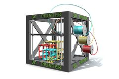 An illustration of a 3D printer printing cubes. An illustration of a three dimensional printer creating cubes in three different colors Stock Image