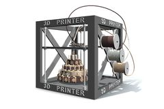 An illustration of a 3D printer printing food. An illustration of a three dimensional printer creating a chocolate cake Stock Photo