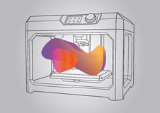 Illustration of the 3D printer. Simple art for web and print design appealing for abstract theme Stock Photo