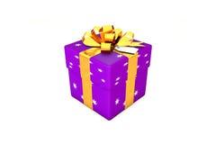 Illustration 3d: Purpurrot - violette Geschenkbox mit Stern, goldenem Metallband/Bogen und Tag auf einem weißen Hintergrund lokal Stockfotos