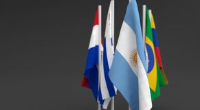 Illustration 3d render, Flags of the five countries of the Mercosul economic bloc. With the leadership of argentina stock illustration