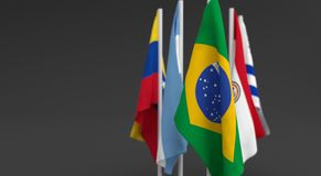 Illustration 3d render, Flags of the five countries of the Mercosul economic bloc. With the leadership of Brazil vector illustration