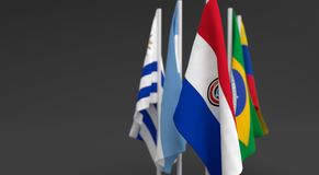 Illustration 3d render, Flags of the five countries of the Mercosul economic bloc Stock Photo