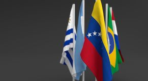 Illustration 3d render, Flags of the five countries of the Mercosul economic bloc. With the leadership of venezuela stock illustration