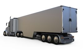 Rear view aluminum trailer truck Stock Photo