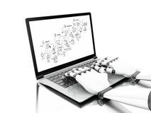 illustration 3d Robotic händer som skriver på en bärbar dator vektor illustrationer
