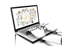illustration 3d Robotic händer som skriver på en bärbar dator med affär royaltyfri illustrationer